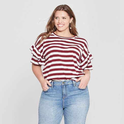 Women s Plus Size Striped Ruffle Short Sleeve T-Shirt - Universal Thread™  Red White fe42864c0d