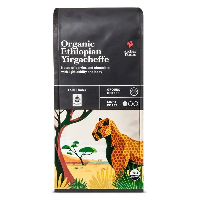 Organic Ethiopian Yirgacheffe Light Roast Ground Coffee - 10oz - Archer Farms™