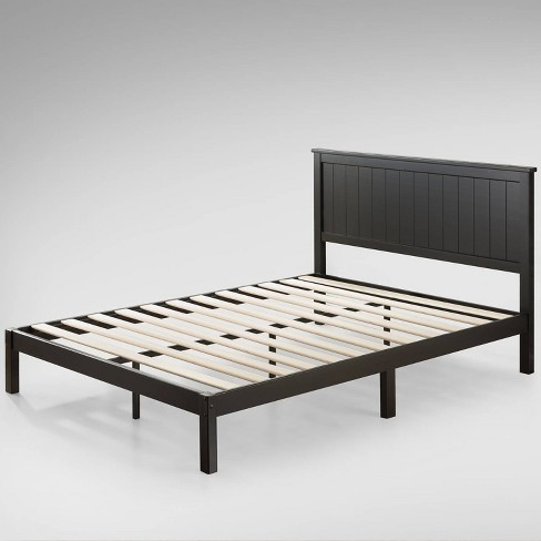 Full Santiago Wood Platform Bed With Headboard Black Zinus