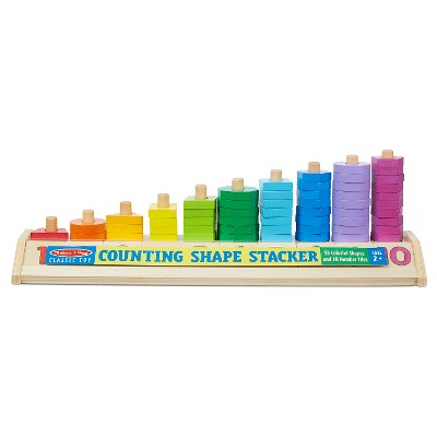 Melissa & Doug® Counting Shape Stacker - Wooden Educational Toy With 55 Shapes and 10 Number Tiles