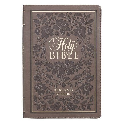 KJV Bible Thinline Brown with Flowers - (Leather_bound) - image 1 of 1