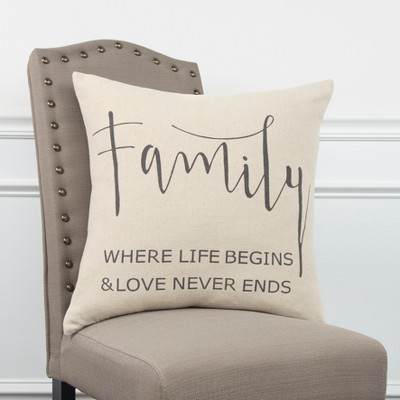 Sentiment Decorative Filled Oversize Square Throw Pillow Neutral - Rizzy Home : Target