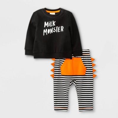 Baby Boys' Milk Monster French Terry Long Sleeve Top & Bottom Set - Cat & Jack™ Black 3-6M