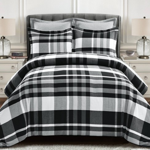 King 5pc Farmhouse Yarn Plaid Comforter Set Black/White   Lush