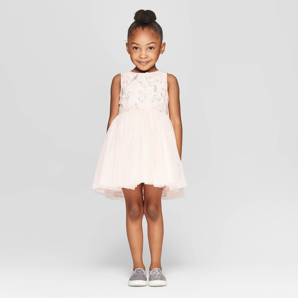 Toddler Girls' Embroidered Ballerina A line Dress - Cat & Jack Pink 4T