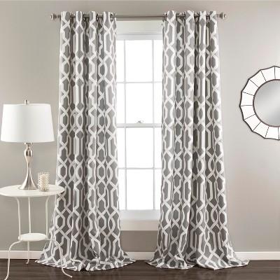52 x84  Set of 2 Edward Room Darkening Window Curtain Panel Gray - Lush Decor