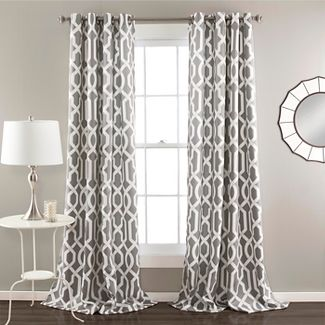 "52""x84"" Set of 2 Edward Room Darkening Window Curtain Panel Gray - Lush Decor"