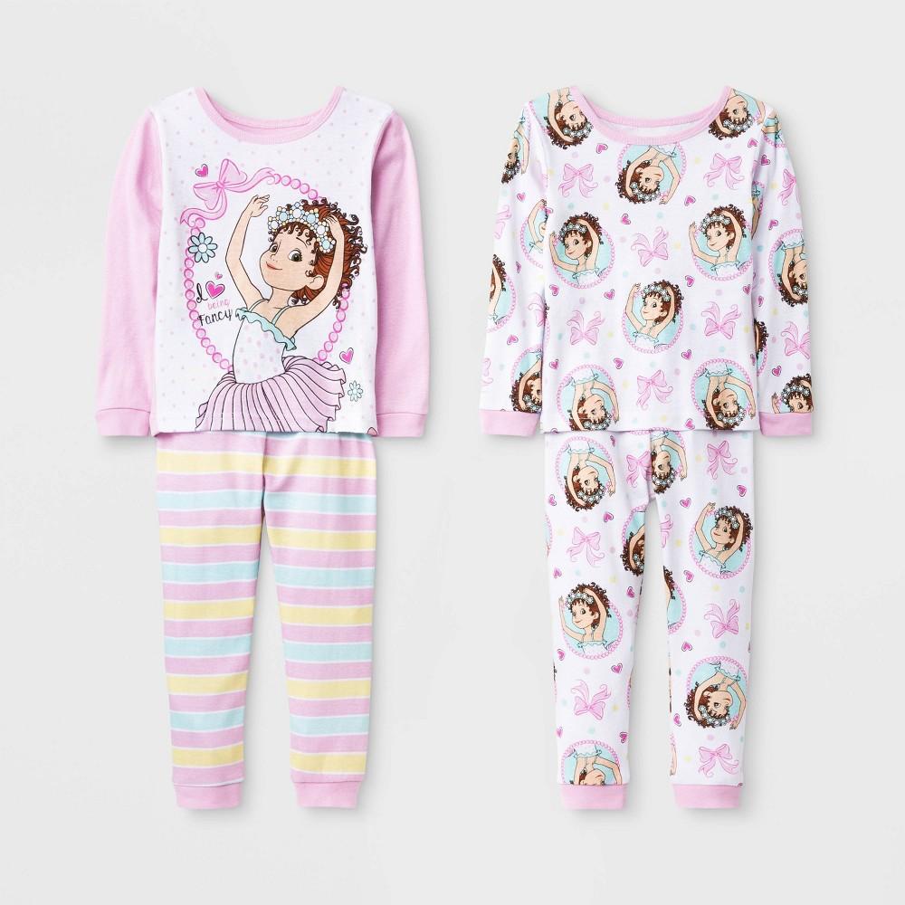 Image of Toddler Girls' 4pc Fancy Nancy Pajama Set - White/Pink 2T, Girl's, Pink/White