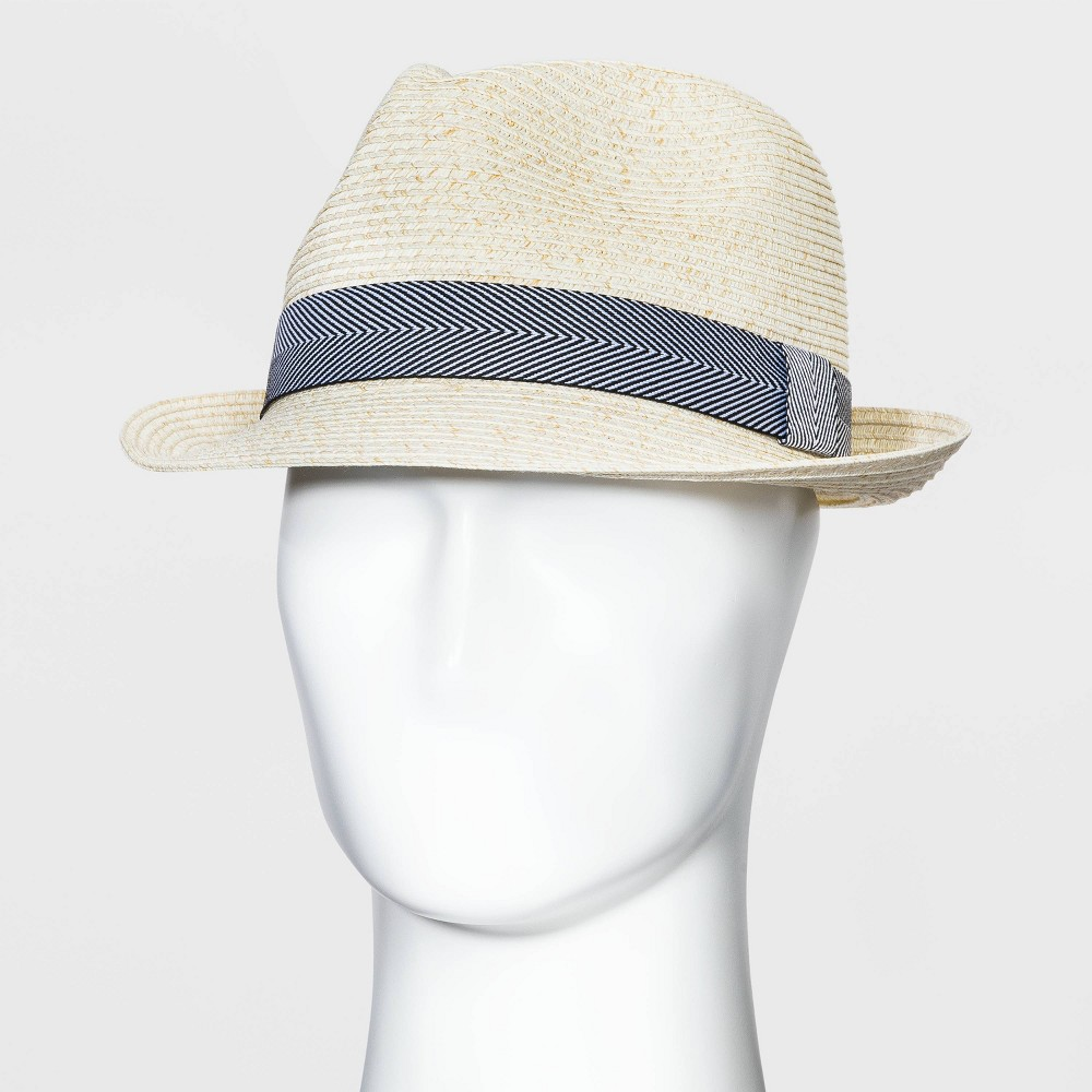 Men 39 S Fedora Hat With Striped Band Goodfellow 38 Co 8482 Natural L Xl