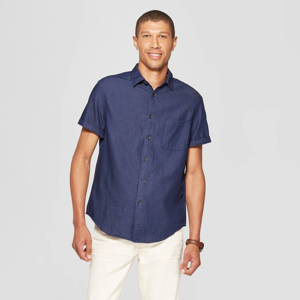 Men's Casual Fit Short Sleeve Denim Button-Down Shirt - Goodfellow & Co Navy Voyage M, Blue