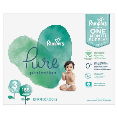 Pampers Pure Disposable Diapers One Month Supply - Size 3 (168ct)