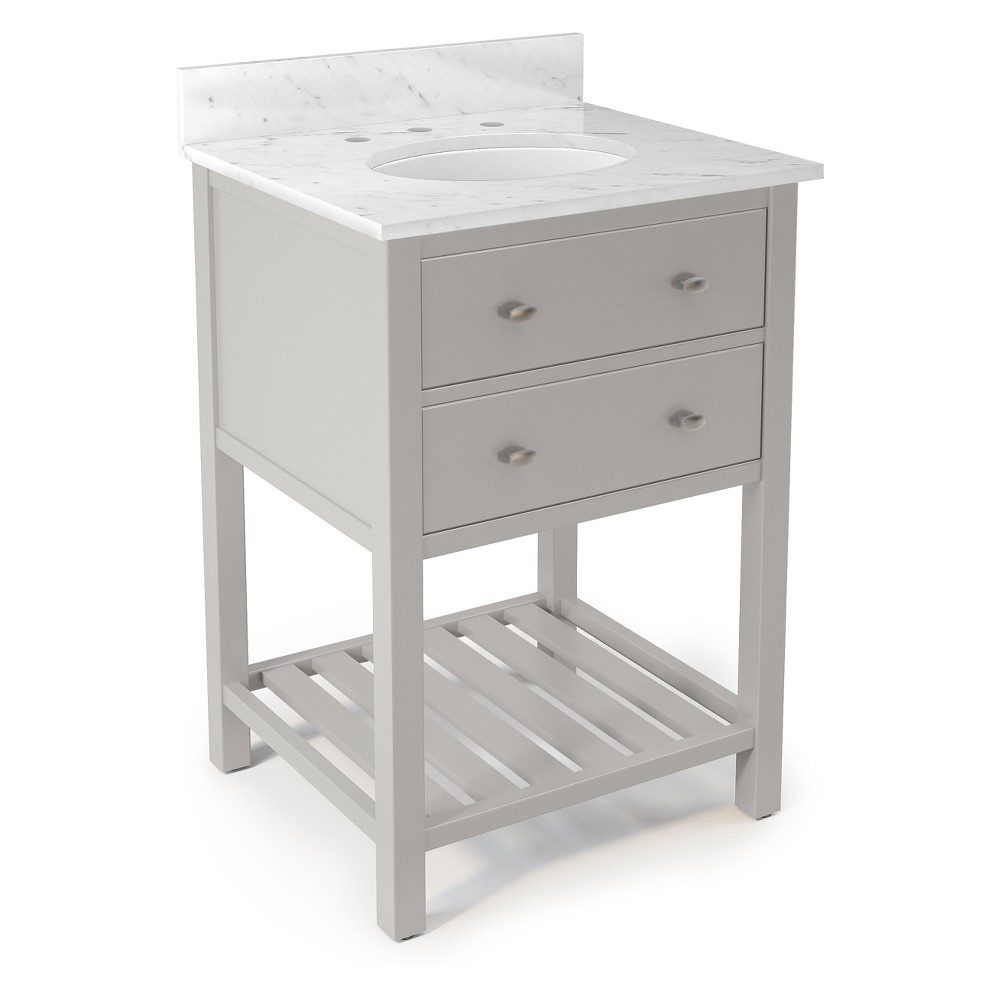 Harrison with White Marble Sink Top Set Bath Vanity Cabinet Gray 25 - Alaterre Furniture
