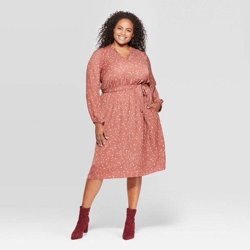 Women\'s Plus Size Printed Long Sleeve Midi Dress - Ava & Viv™ Mauve