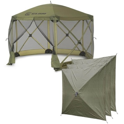 CLAM Quick-Set Escape 12 x 12 Foot Portable Pop Up Camping Outdoor Gazebo 6 Sided Canopy Shelter + 3 Pack of Wind and Sun Panels, Green