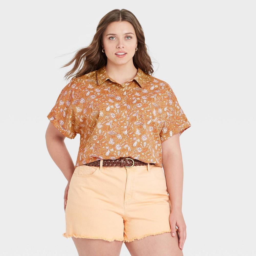 Women 39 S Plus Size Floral Print Dolman Short Sleeve Button Down Shirt Universal Thread 8482 Yellow 4x