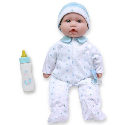 """JC Toys La Baby 16"""" Baby Doll - Blue Outfit with Pacifier"""