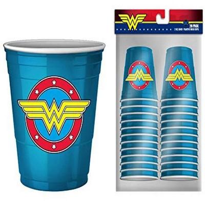 Silver Buffalo DC Comics Wonder Woman Logo 2oz Disposable Plastic Mini Cups   20 Pack