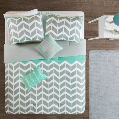 Teal Darcy Comforter Set Chevron King/California King 5pc