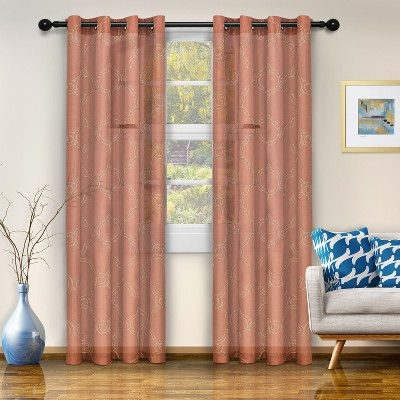 Embroidered Moroccan Trellis Semi-Sheer Grommet Curtain Panel Set by Blue Nile Mills