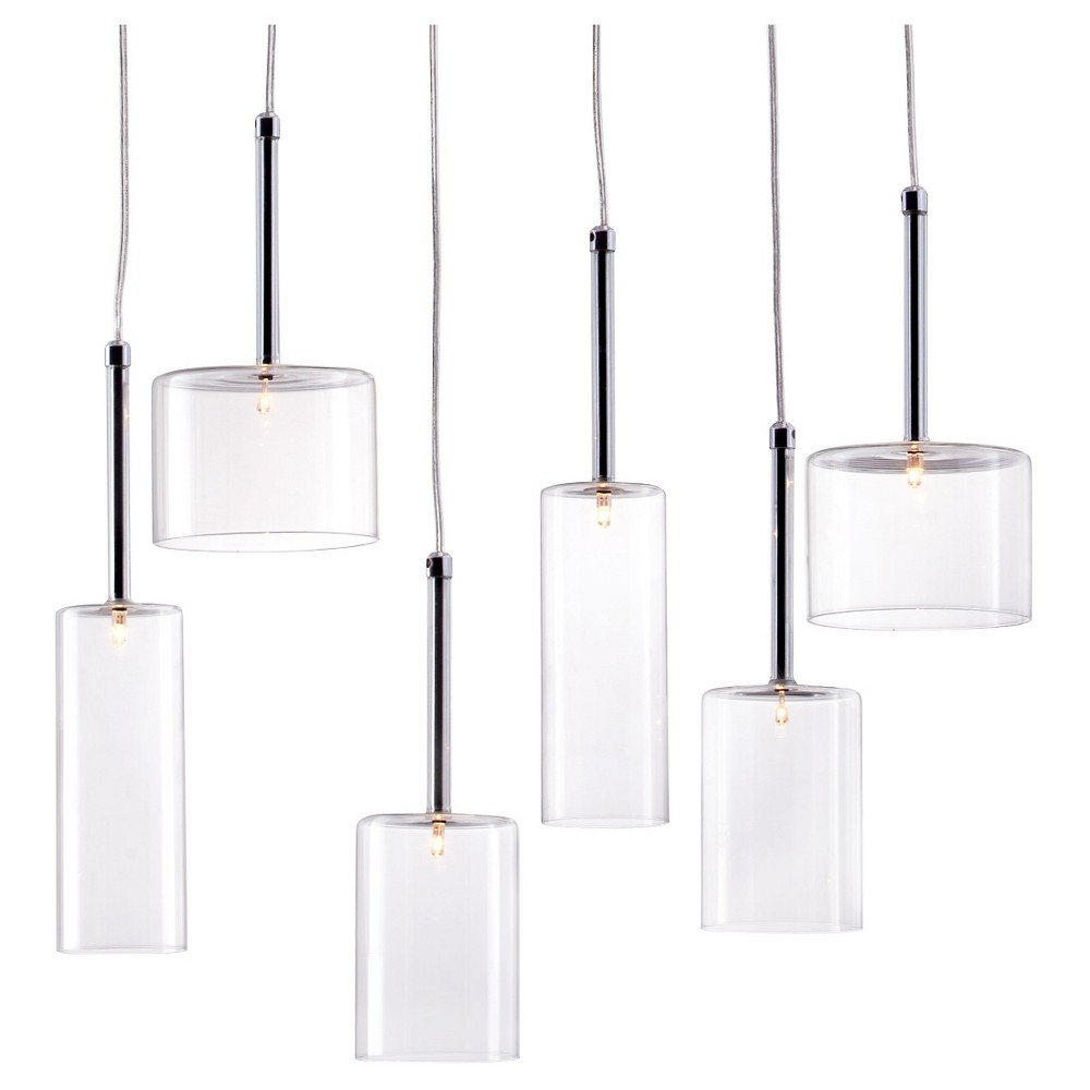 Image of Modern 6-Cylinder Clear Glass and Chrome Halogen Ceiling Lamp - ZM Home