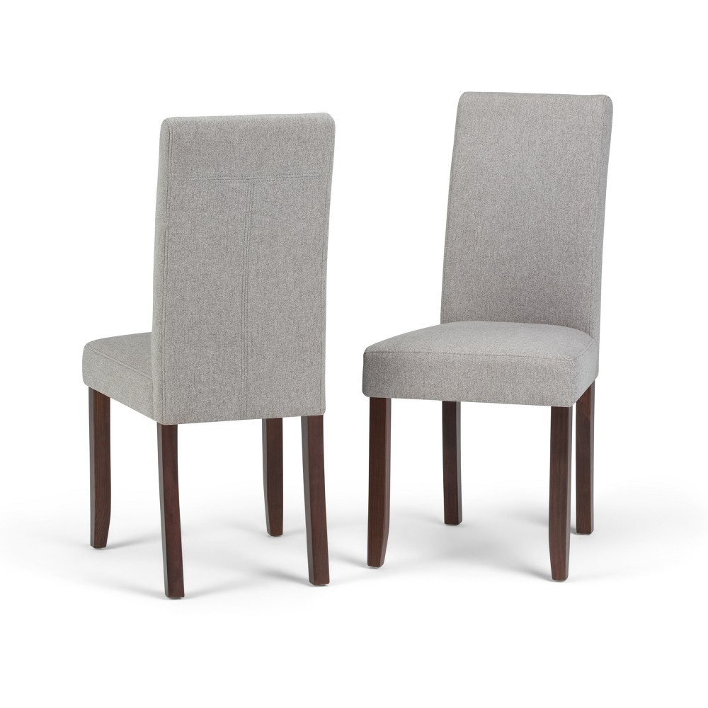 Normandy Parson Dining Chair Set of 2 Cloud Gray Linen Look Fabric - Wyndenhall, Cloudy Gray