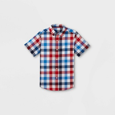 Boys' Gingham Button-Down Short Sleeve Shirt - Cat & Jack™ Red/White/Blue