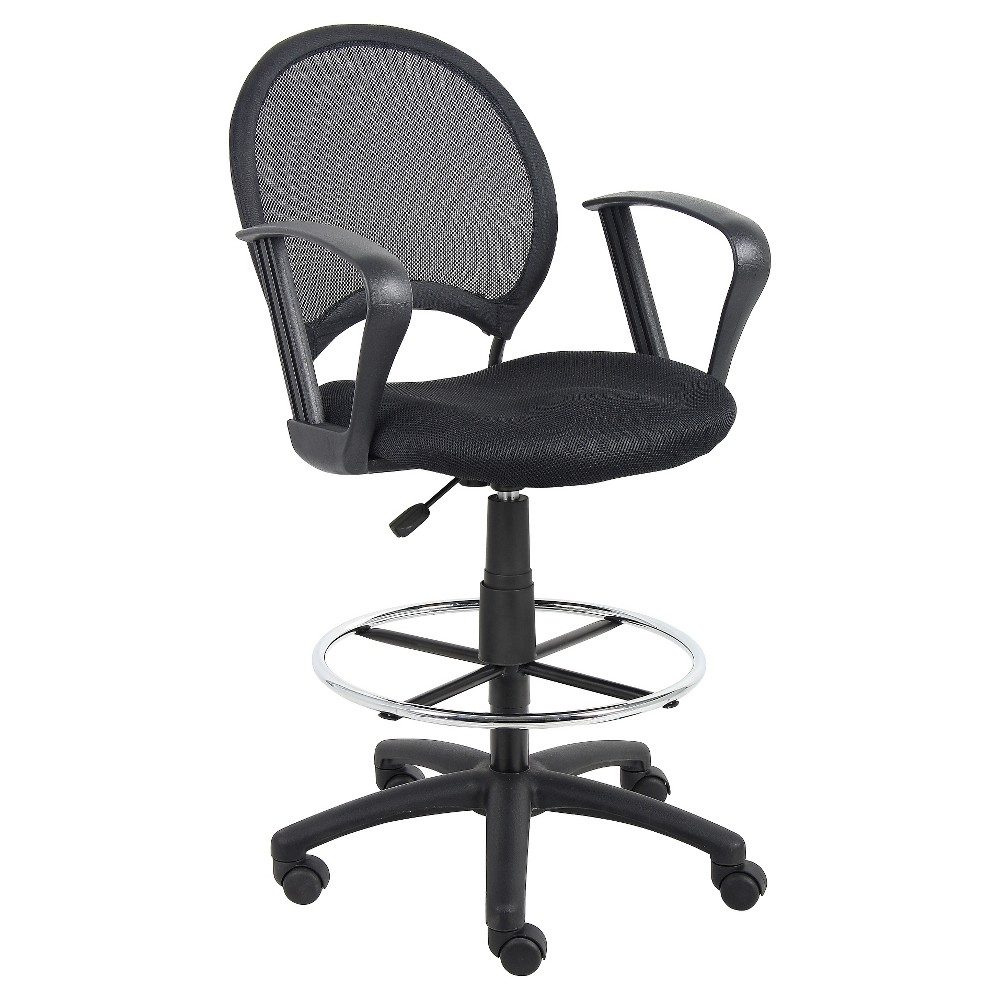 Mesh Drafting Stool with Loop Arms Black - Boss Office Products