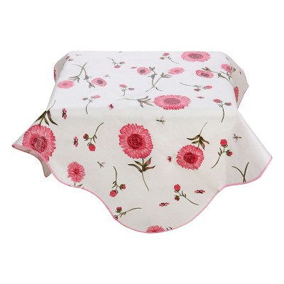 """35""""x35"""" Square Vinyl Water Oil Resistant Printed Tablecloths Pink Sunflower - PiccoCasa"""