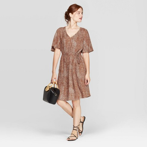 Women's Snake Print Regular Fit Elbow Sleeve V-Neck Tie-Waist Woven Dress - A New Day™ Brown - image 1 of 3