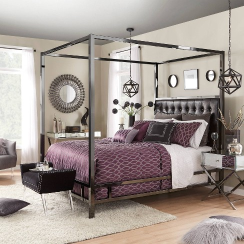 Full Manhattan Nickel Canopy Bed With Biscuit Tufted Headboard Black Inspire Q