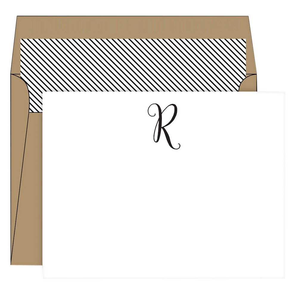 RosanneBECK Collections White Die-Cut Social Set Kraft Monogram - R