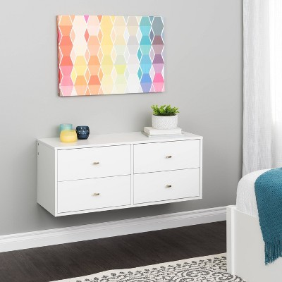 Floating 4 Drawers Dresser White - Prepac