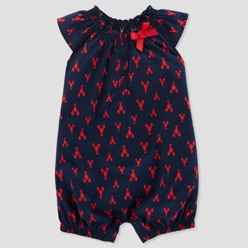 2cf939e6575 Baby Girls  1pc Lobster Romper - Just One You® Made By Carter s Navy ...