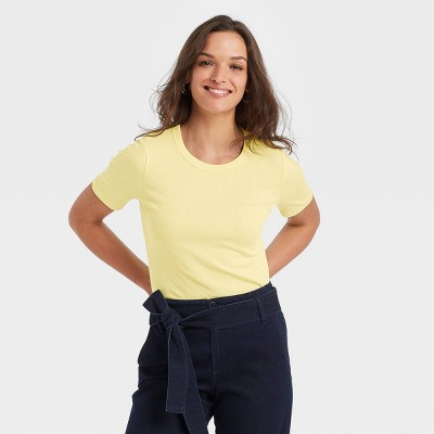 Women's Short Sleeve Round Neck Ribbed T-Shirt - A New Day™ Yellow