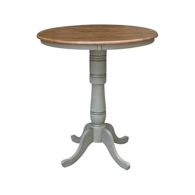 Loraina Round Pedestal Table Hickory Brown/Stone Gray - International Concepts