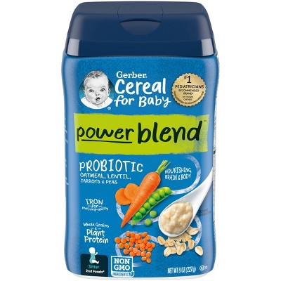 Gerber PowerBlend Probiotic Cereal Oatmeal Lentil Carrot Pea Baby Cereal - 8oz