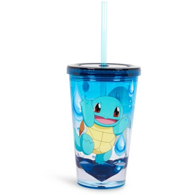 Just Funky Pokemon Squirtle 16oz Plastic Carnival Cup Tumbler with Lid and Reusable Straw