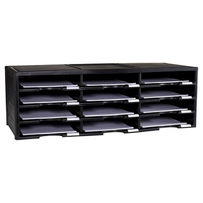 Storex® Desktop Paper Sorter, 12 Compartment - Black