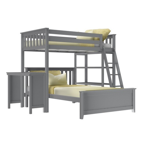 Max Lily L Shape Twin Over Full Bunk Bed With Bookcase And Desk Target