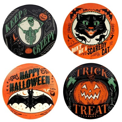 """6"""" Earthenware Scaredy Cat Canape Plates - Certified International"""