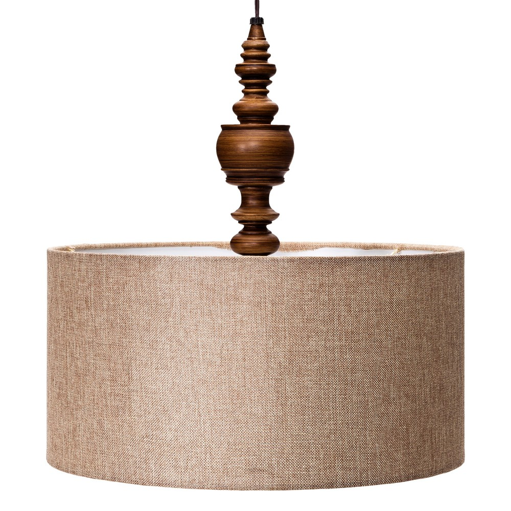 Turned Plug-in Pendant Ceiling Light Brown Includes Energy Efficient Light Bulb