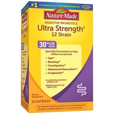 Nature Made Digestive Probiotics Ultra Strength 12 Strain Capsules - 30 Billion CFU per serving - 25ct