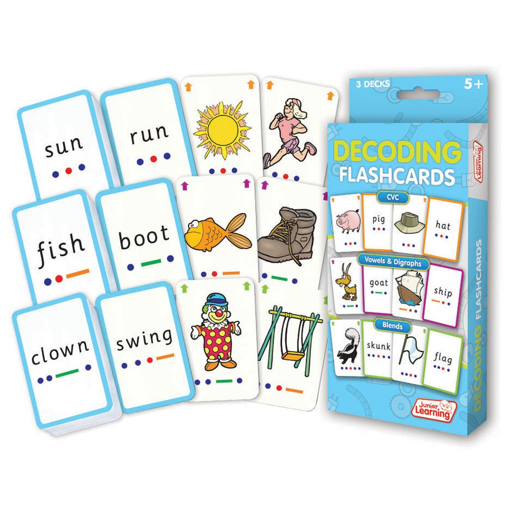 Junior Learning Decoding Flashcards - Cvc, Vowels & Blends Decoding Flash Cards: Cvc (consonant vowel consonant), vowel and blend patterns. All words are phonologically regular and sound buttons support decoding. 3 flash card decks, 162, cards.