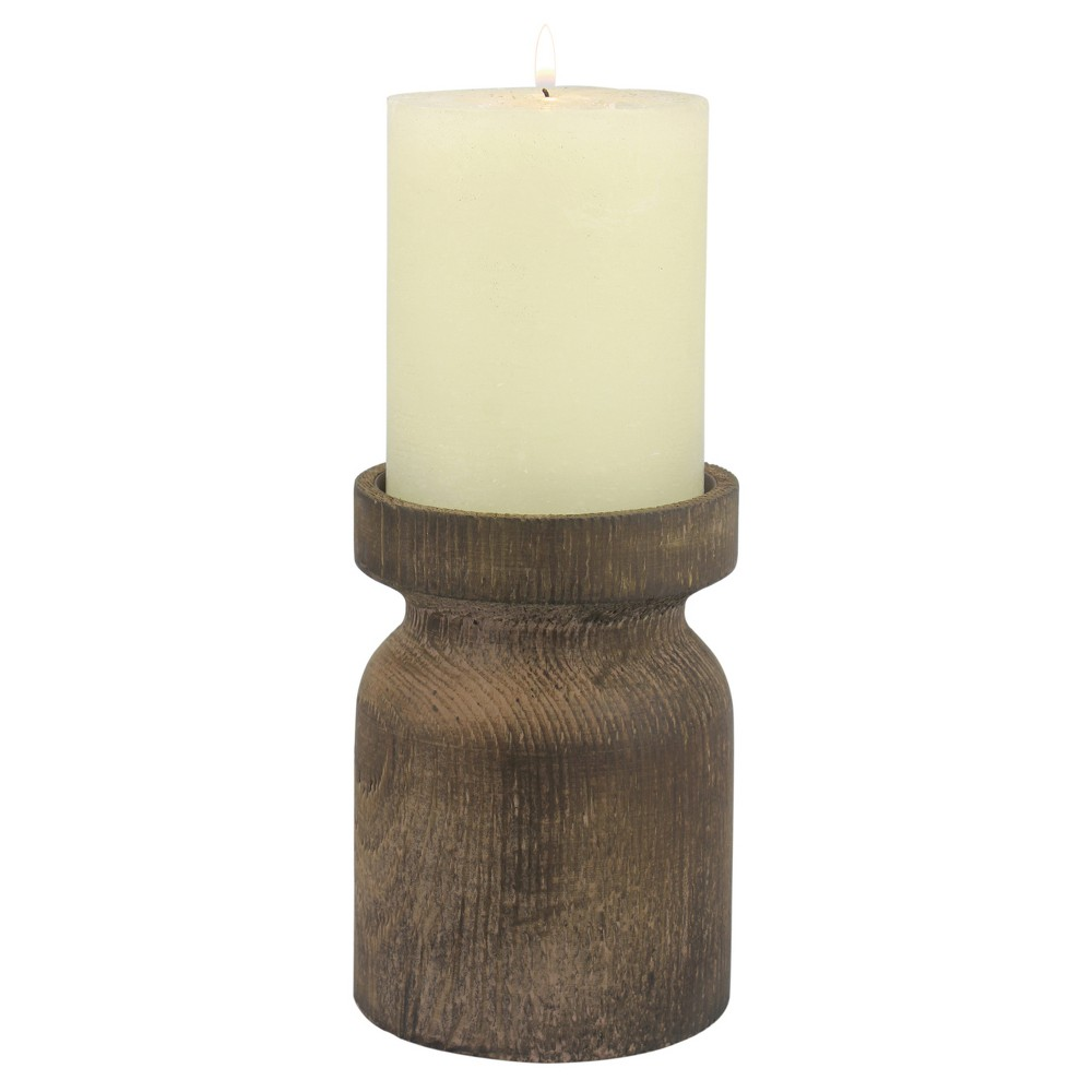 "Image of ""5.11"""" Rustic Wood Pillar Candle Holder Brown - CKK Home Decor"""