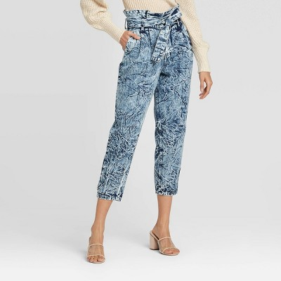Women's High-Rise Ankle Length Paperbag Pants - Who What Wear™ Acid Wash