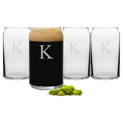 Cathy's Concepts 16 oz. Personalized Craft Beer Can Glasses (Set of 4)-K
