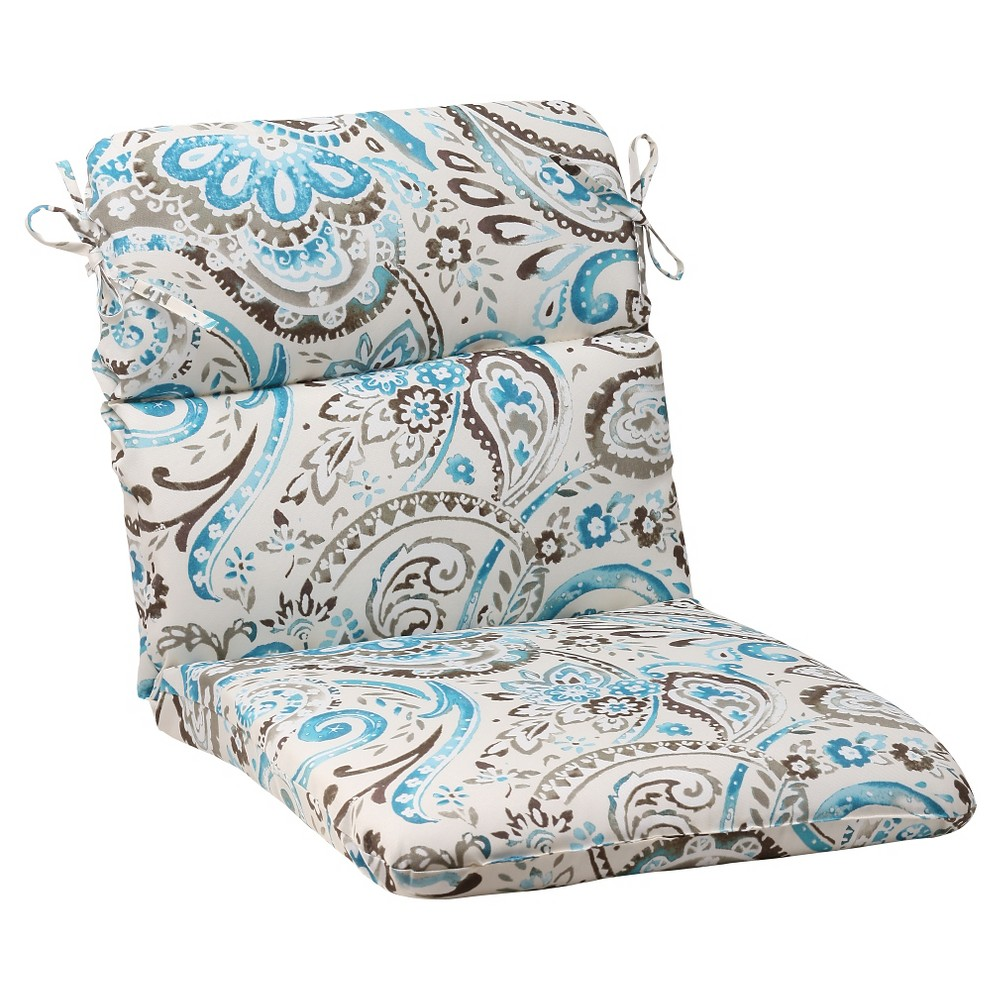 Outdoor Rounded Chair Cushion - Gray/Turquoise Paisley