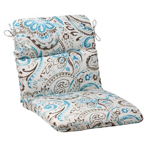 Outdoor Rounded Chair Cushion Gray Turquoise Paisley Target