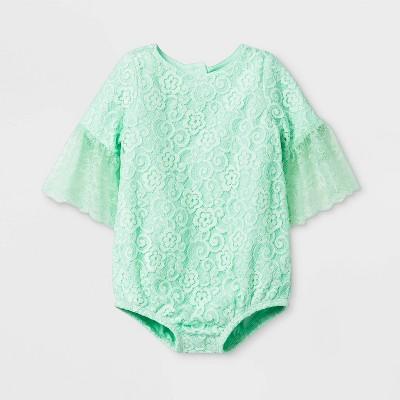 Baby Girls' Eyelet/Gauze Bubble Lace Romper - Cat & Jack™ Green 0-3M