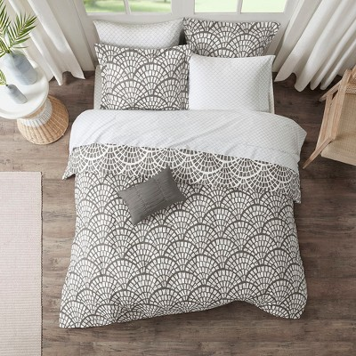 Full 9pc Katti Reversible Complete Bedding Set Gray